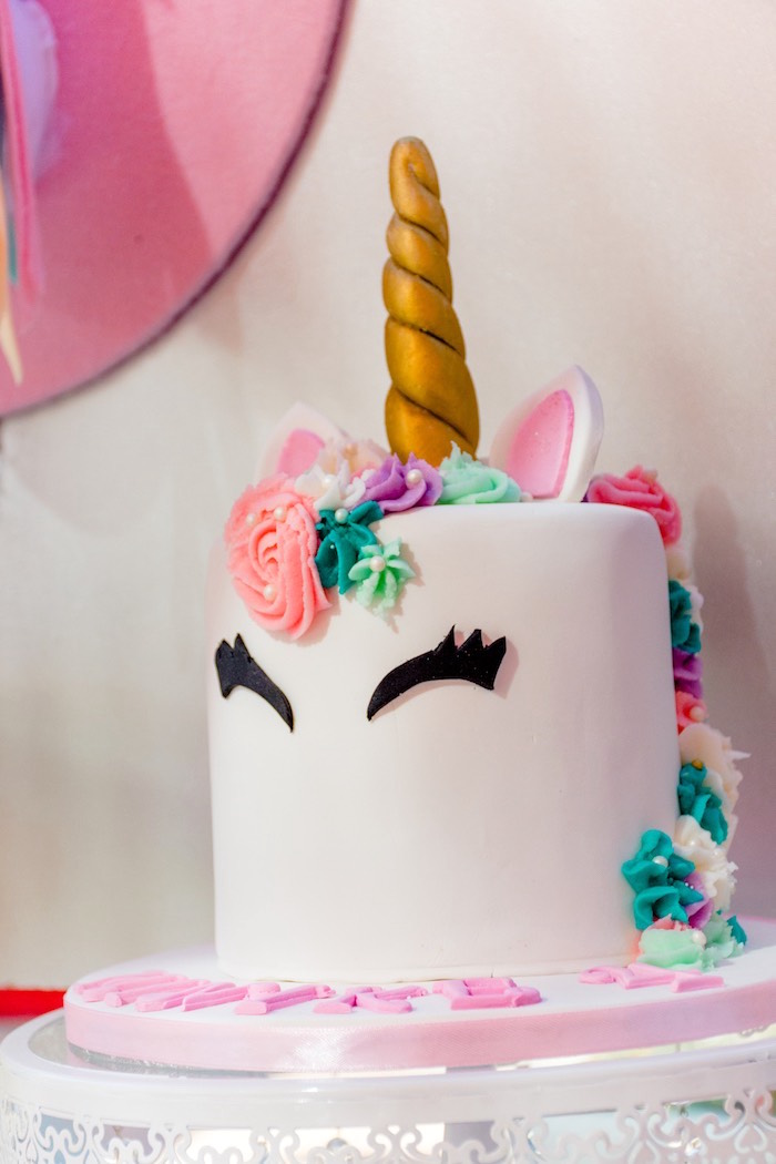 Unicorn Cake from a Rainbows and Unicorns Birthday Party on Kara's Party Ideas | KarasPartyIdeas.com (24)