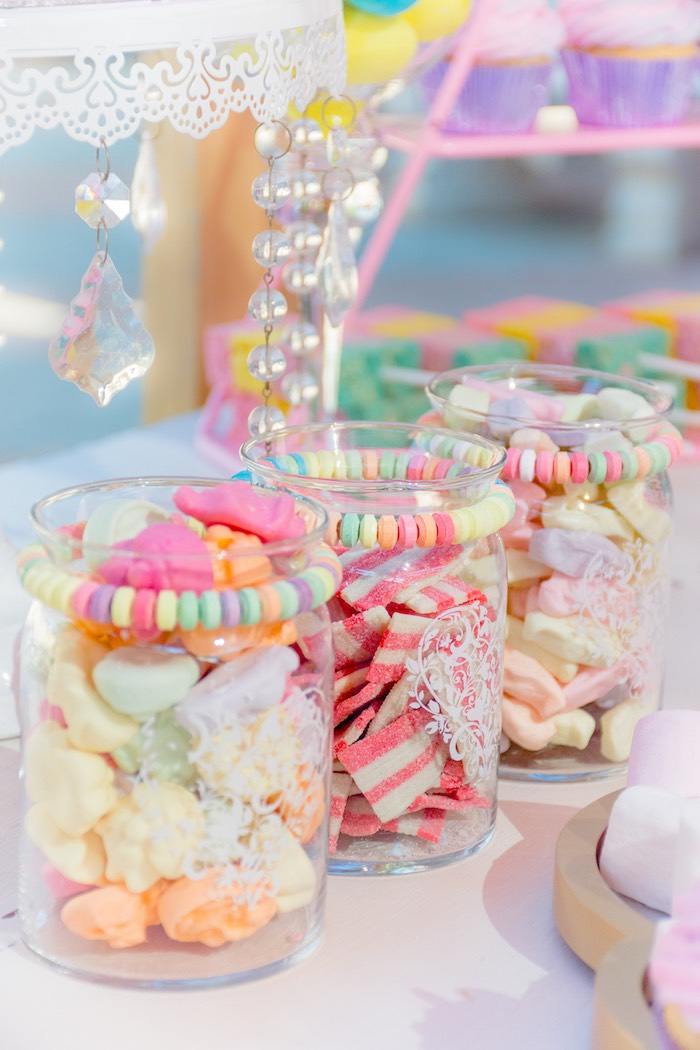Unicorn-inspired Candy Jars from a Rainbows and Unicorns Birthday Party on Kara's Party Ideas | KarasPartyIdeas.com (23)