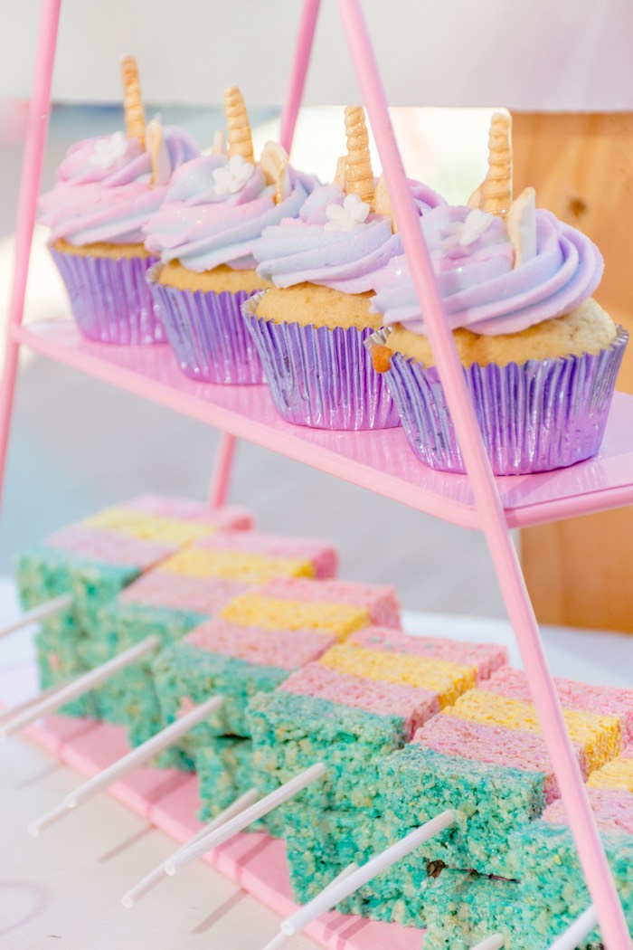 Unicorn Cupcakes & Rainbow Krispies from a Rainbows and Unicorns Birthday Party on Kara's Party Ideas | KarasPartyIdeas.com (19)