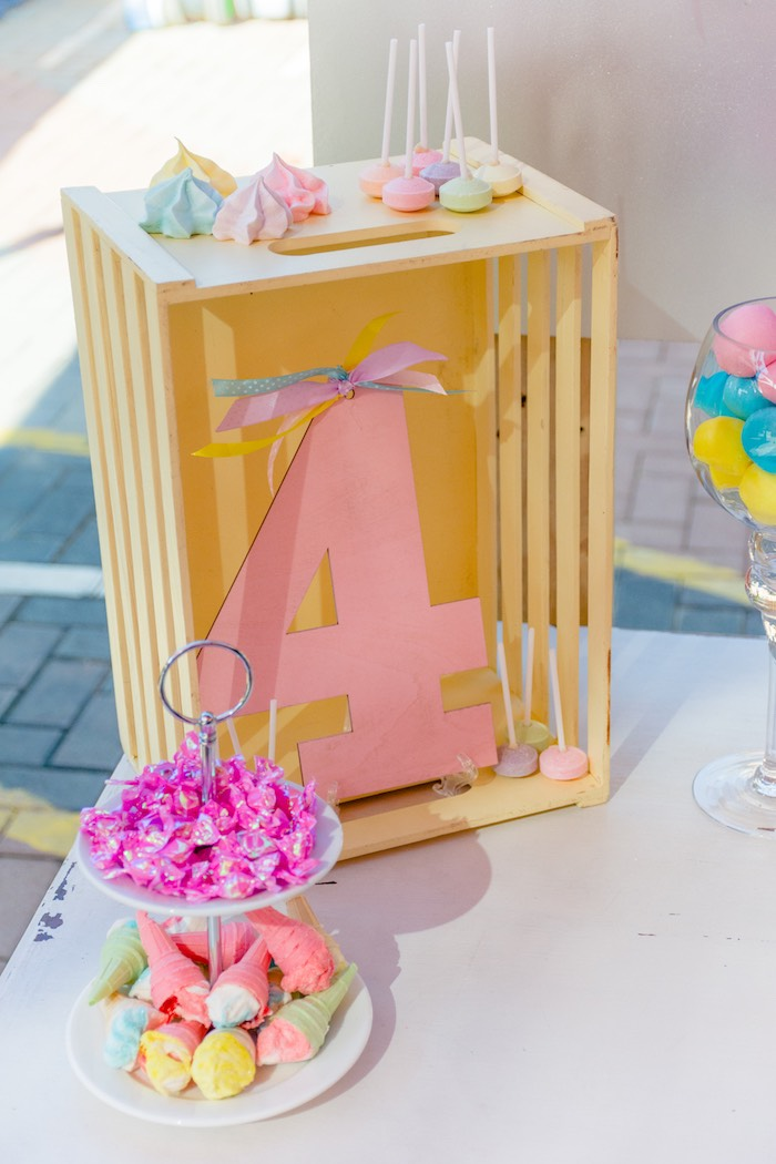 Crate Shelf from a Rainbows and Unicorns Birthday Party on Kara's Party Ideas | KarasPartyIdeas.com (18)