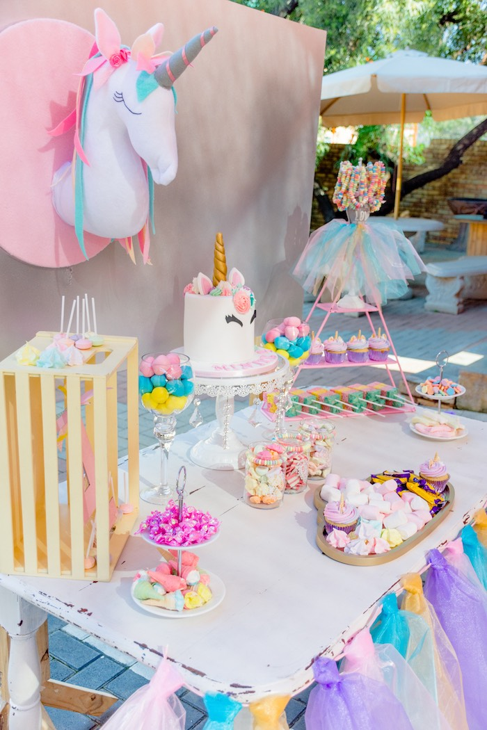Unicorn Themed Dessert Table from a Rainbows and Unicorns Birthday Party on Kara's Party Ideas | KarasPartyIdeas.com (17)