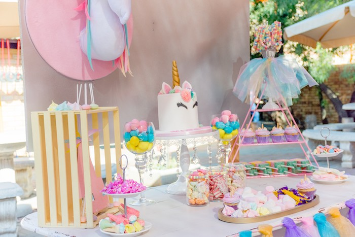 Unicorn Themed Dessert Table from a Rainbows and Unicorns Birthday Party on Kara's Party Ideas | KarasPartyIdeas.com (16)