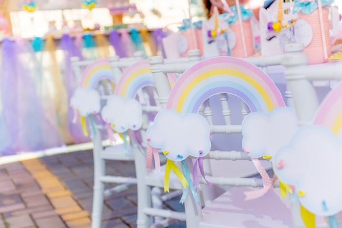 Rainbow Chair Ties from a Rainbows and Unicorns Birthday Party on Kara's Party Ideas | KarasPartyIdeas.com (15)