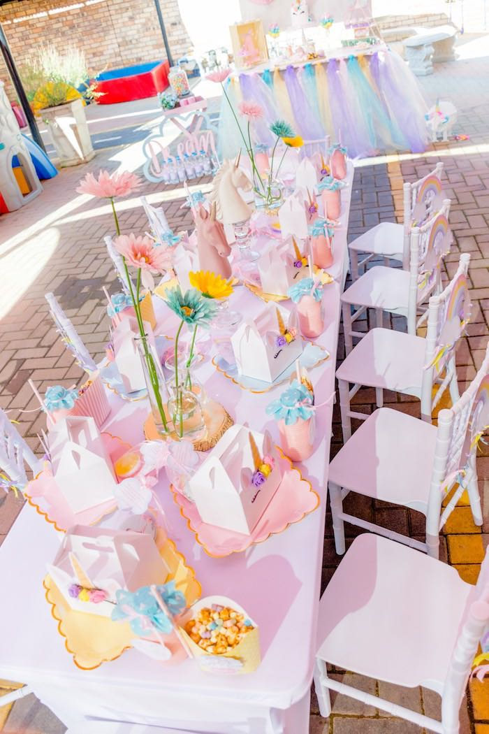 Unicorn Themed Kid Table from a Rainbows and Unicorns Birthday Party on Kara's Party Ideas | KarasPartyIdeas.com (13)