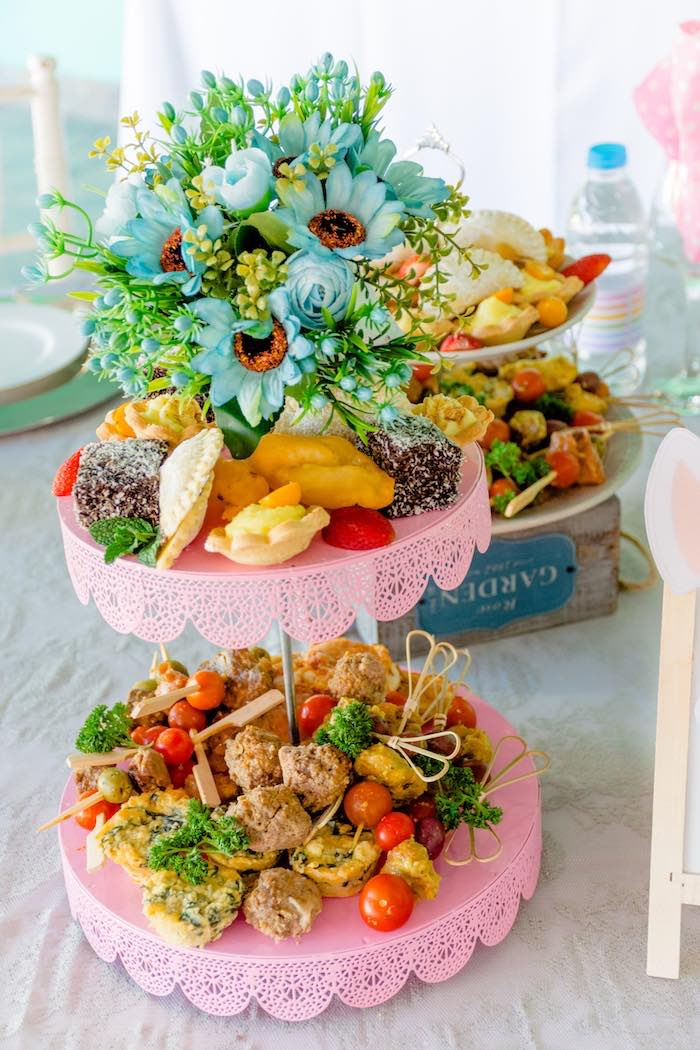 Flower-topped Food Pedestal from a Rainbows and Unicorns Birthday Party on Kara's Party Ideas | KarasPartyIdeas.com (12)