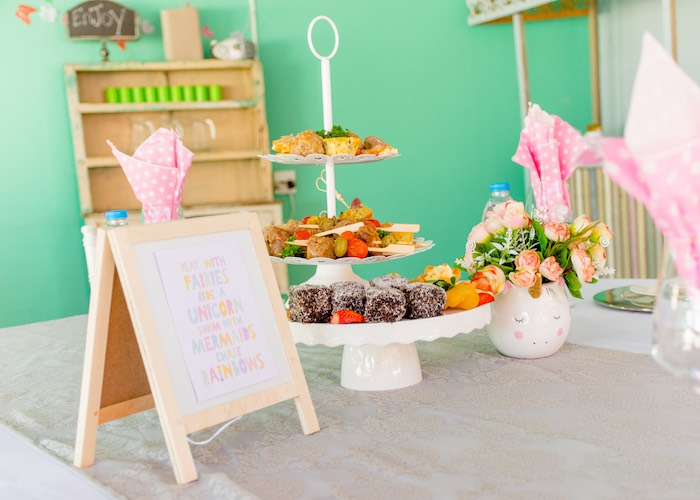 Food Table from a Rainbows and Unicorns Birthday Party on Kara's Party Ideas | KarasPartyIdeas.com (8)