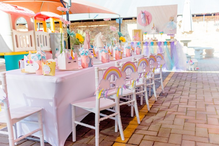 Unicorn Themed Kid Table from a Rainbows and Unicorns Birthday Party on Kara's Party Ideas | KarasPartyIdeas.com (35)
