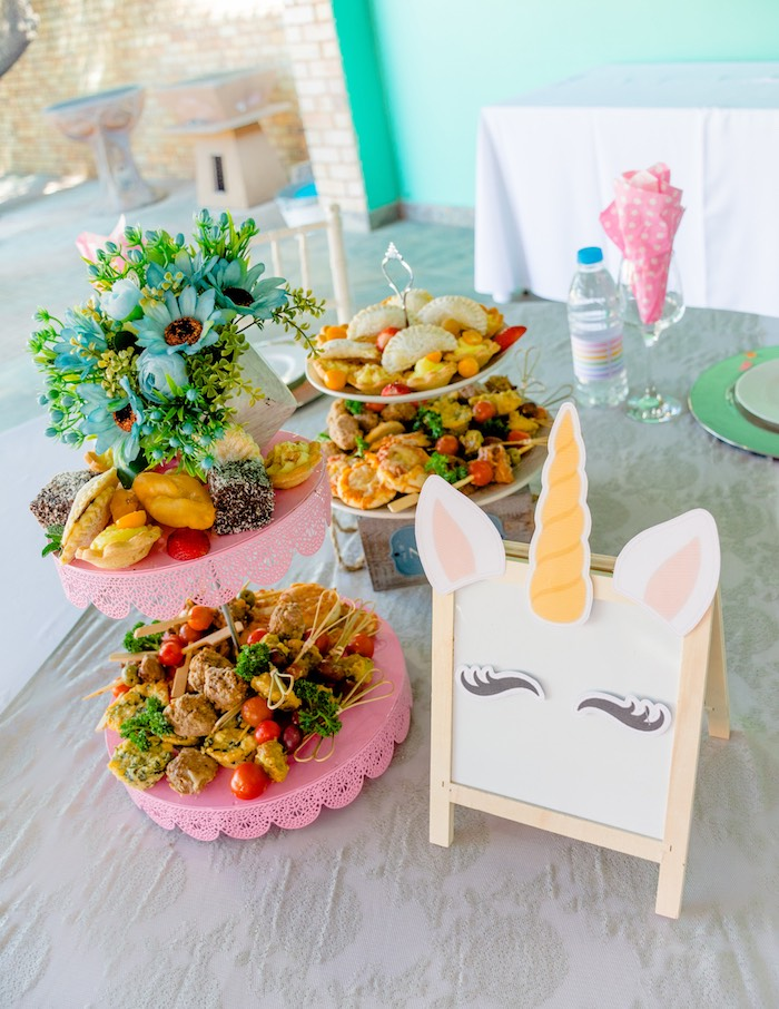 Unicorn Easel + Food Table from a Rainbows and Unicorns Birthday Party on Kara's Party Ideas | KarasPartyIdeas.com (7)