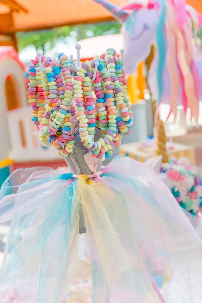 Dress Form Candy Necklace Stand from a Rainbows and Unicorns Birthday Party on Kara's Party Ideas | KarasPartyIdeas.com (6)