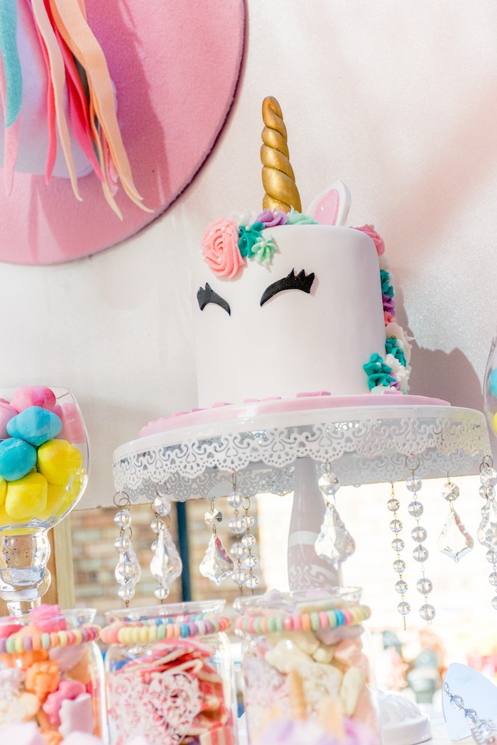 Unicorn Cake from a Rainbows and Unicorns Birthday Party on Kara's Party Ideas | KarasPartyIdeas.com (5)