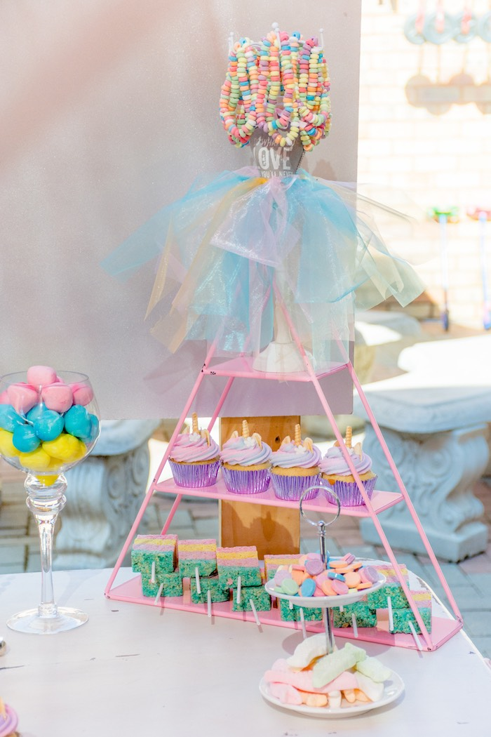 Wire Triangle Dessert Shelf from a Rainbows and Unicorns Birthday Party on Kara's Party Ideas | KarasPartyIdeas.com (4)