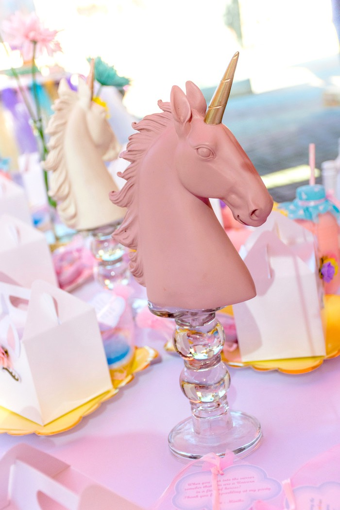 Unicorn Centerpiece from a Rainbows and Unicorns Birthday Party on Kara's Party Ideas | KarasPartyIdeas.com (32)