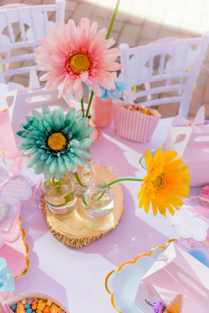 Colored Daisies + Centerpiece from a Rainbows and Unicorns Birthday Party on Kara's Party Ideas | KarasPartyIdeas.com (31)
