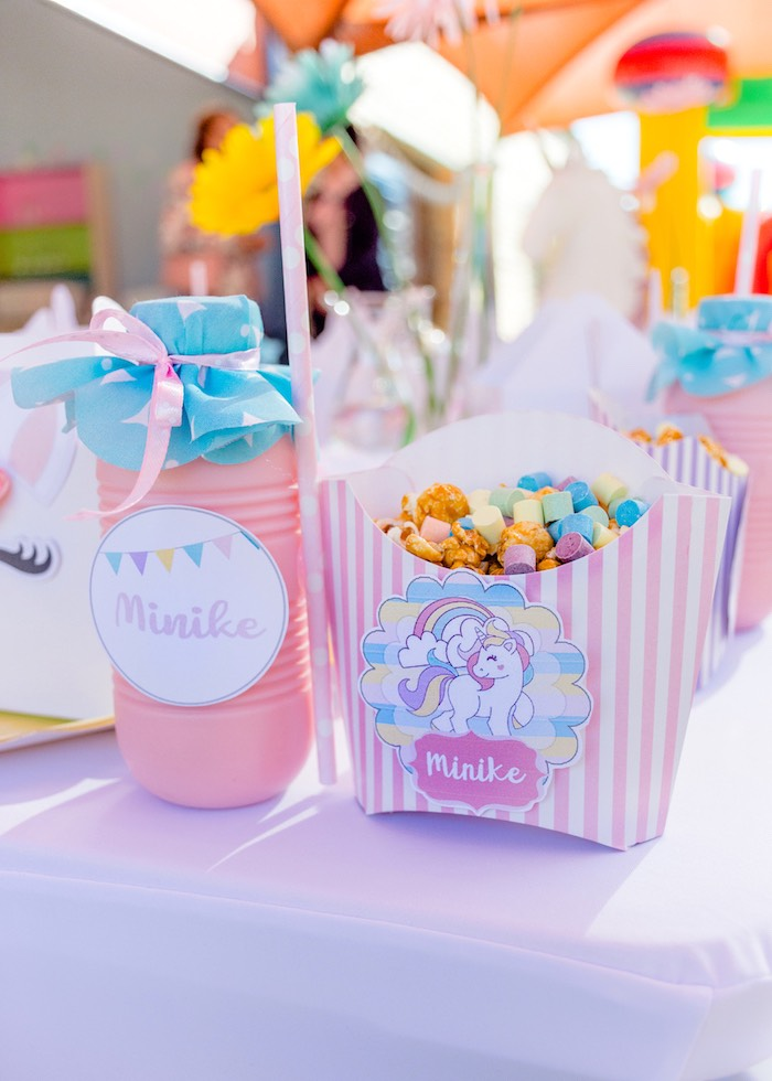 Unicorn Crunch + Drink Bottles from a Rainbows and Unicorns Birthday Party on Kara's Party Ideas | KarasPartyIdeas.com (30)