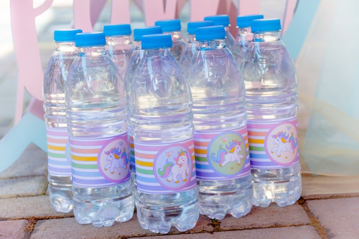 Unicorn-wrapped Water Bottles from a Rainbows and Unicorns Birthday Party on Kara's Party Ideas | KarasPartyIdeas.com (28)