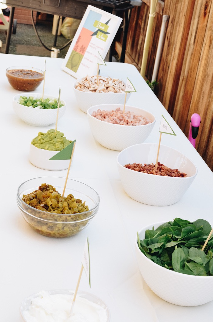 Brunch Bar + Toppings from a Retro Country Club + Golf Birthday Party on Kara's Party Ideas | KarasPartyIdeas.com (20)