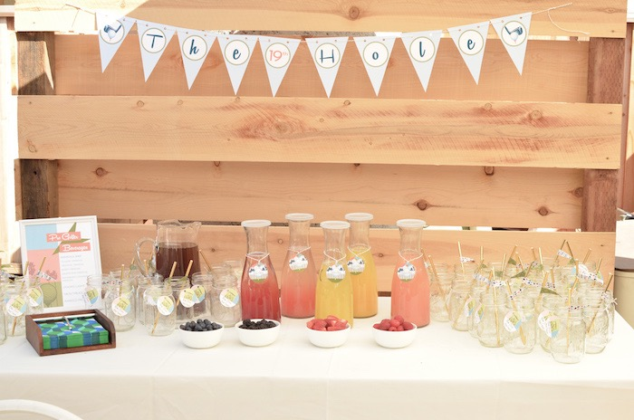 19th Hole Beverage Bar from a Retro Country Club + Golf Birthday Party on Kara's Party Ideas | KarasPartyIdeas.com (19)