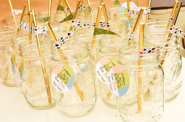 Mason Jar Mugs from a Retro Country Club + Golf Birthday Party on Kara's Party Ideas | KarasPartyIdeas.com (18)