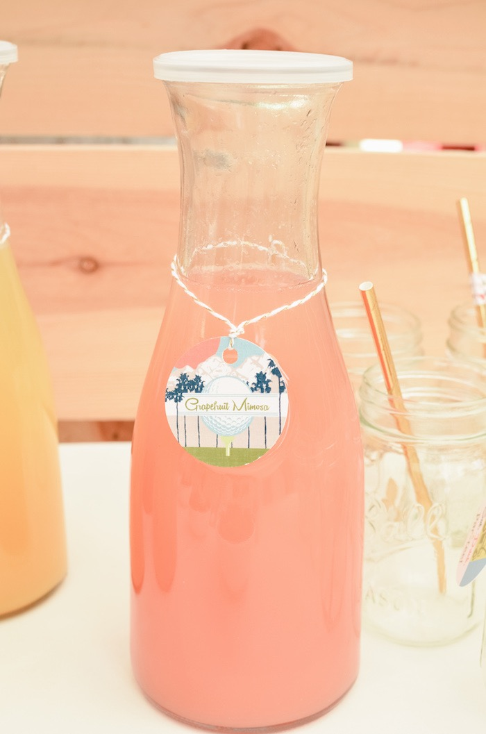 Grapefruit Mimosa + Beverage Bottle Label from a Retro Country Club + Golf Birthday Party on Kara's Party Ideas | KarasPartyIdeas.com (17)