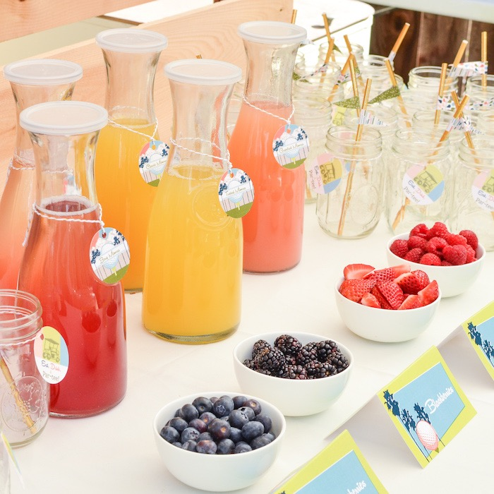 Mimosa Bar from a Retro Country Club + Golf Birthday Party on Kara's Party Ideas | KarasPartyIdeas.com (12)
