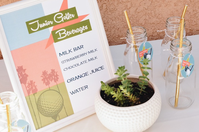 Junior Golfer Beverage Bar + Drink Bottles from a Retro Country Club + Golf Birthday Party on Kara's Party Ideas | KarasPartyIdeas.com (10)