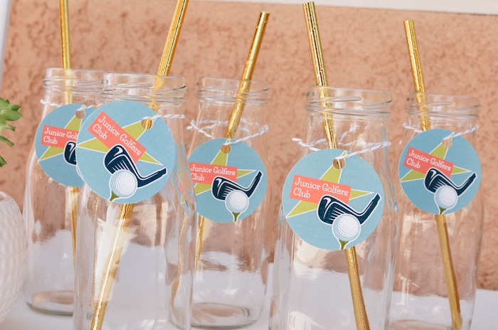 Junior Golfer Beverage Bottles from a Retro Country Club + Golf Birthday Party on Kara's Party Ideas | KarasPartyIdeas.com (9)