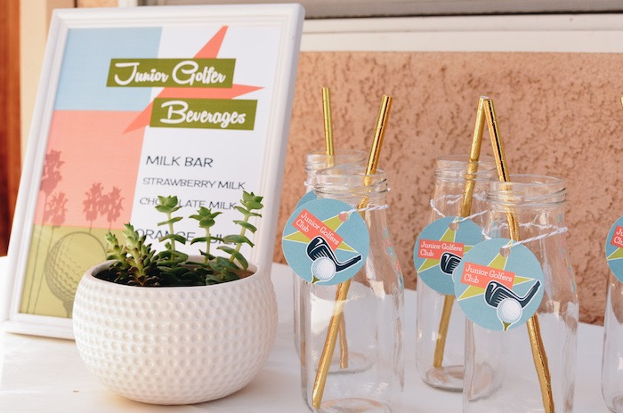 Junior Golfer Beverage Bar + Drink Bottles from a Retro Country Club + Golf Birthday Party on Kara's Party Ideas | KarasPartyIdeas.com (7)