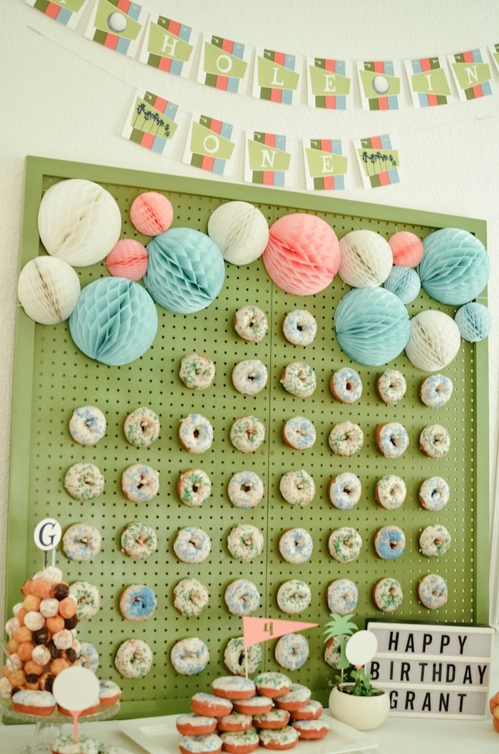 Hole in One Doughnut Board from a Retro Country Club + Golf Birthday Party on Kara's Party Ideas | KarasPartyIdeas.com (35)