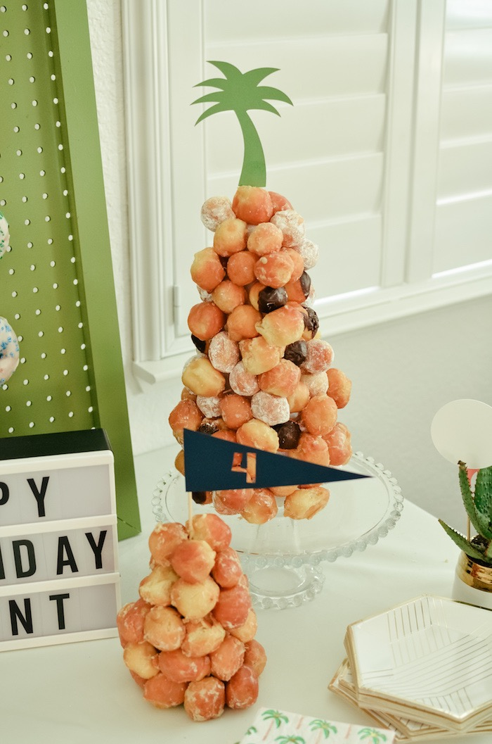 Doughnut Hole Towers from a Retro Country Club + Golf Birthday Party on Kara's Party Ideas | KarasPartyIdeas.com (33)