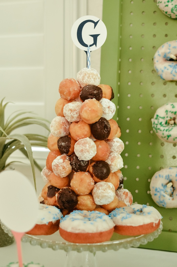 Doughnut Hole Tower from a Retro Country Club + Golf Birthday Party on Kara's Party Ideas | KarasPartyIdeas.com (29)