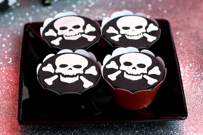Skull & Crossbones Cupcakes from a Rock 'n Roll Birthday Party on Kara's Party Ideas | KarasPartyIdeas.com (12)