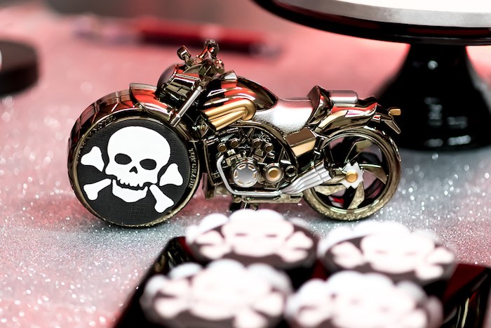 Skull & Crossbones Motorcycle from a Rock 'n Roll Birthday Party on Kara's Party Ideas | KarasPartyIdeas.com (11)