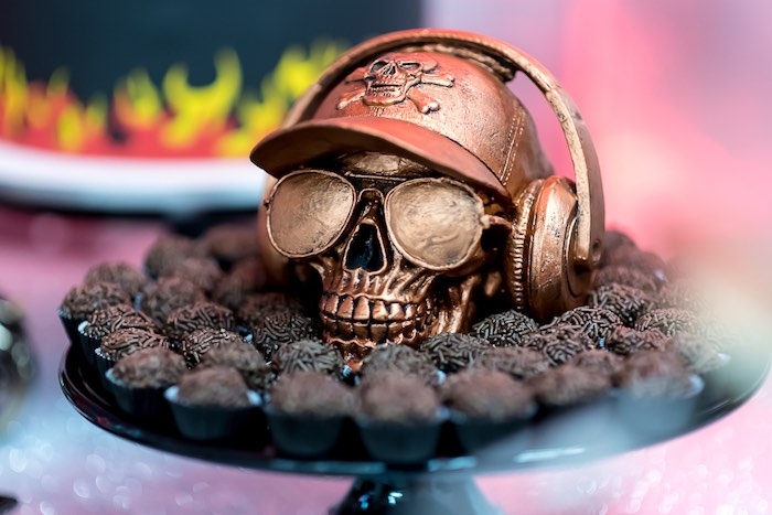 Bronze Skull Brigadeiro + Sweet Pedestal from a Rock 'n Roll Birthday Party on Kara's Party Ideas | KarasPartyIdeas.com (9)