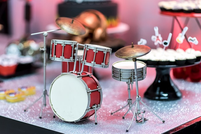 Mini Drum Set Decor Piece from a Rock 'n Roll Birthday Party on Kara's Party Ideas | KarasPartyIdeas.com (8)