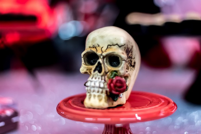 Skull on a Pedestal from a Rock 'n Roll Birthday Party on Kara's Party Ideas | KarasPartyIdeas.com (6)