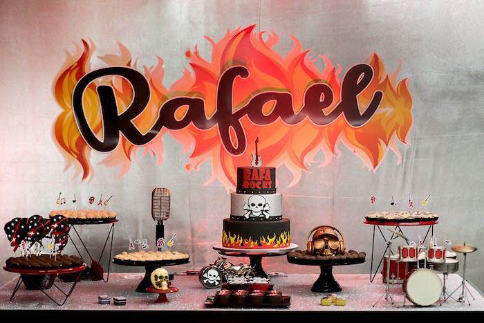 Rock n' Roll Dessert Table from a Rock 'n Roll Birthday Party on Kara's Party Ideas | KarasPartyIdeas.com (18)