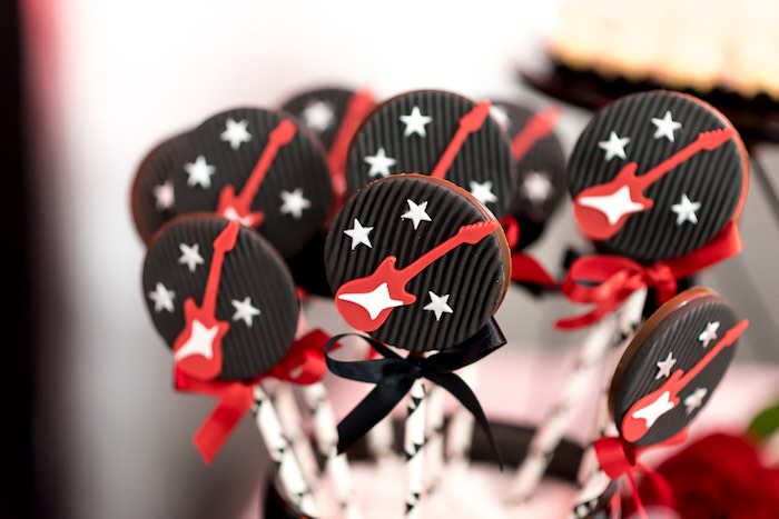 Chocolate Rocker + Guitar Lollipops from a Rock 'n Roll Birthday Party on Kara's Party Ideas | KarasPartyIdeas.com (15)