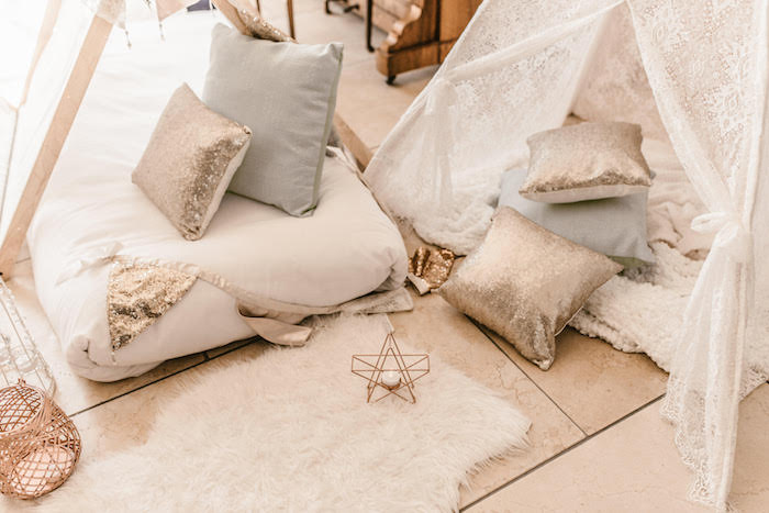 Shimmering Pillows + Boho Bedding from a Romantic Boho Sleepover Party on Kara's Party Ideas | KarasPartyIdeas.com (5)