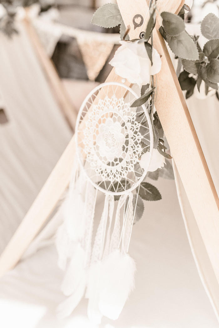 Romantic Lace Dreamcatcher from a Romantic Boho Sleepover Party on Kara's Party Ideas | KarasPartyIdeas.com (3)
