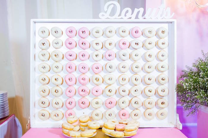 Pink & White Donut Board from a Royal Princess Birthday Party on Kara's Party Ideas | KarasPartyIdeas.com (14)