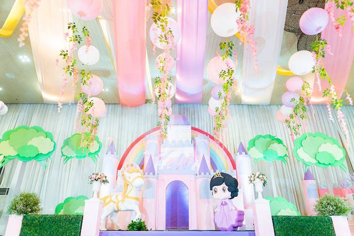 Royal Princess Birthday Party Castle Backdrop on Kara's Party Ideas | KarasPartyIdeas.com (13)