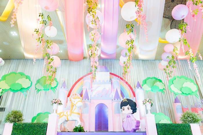 Royal Princess Birthday Party Castle Backdrop on Kara's Party Ideas   KarasPartyIdeas.com (13)