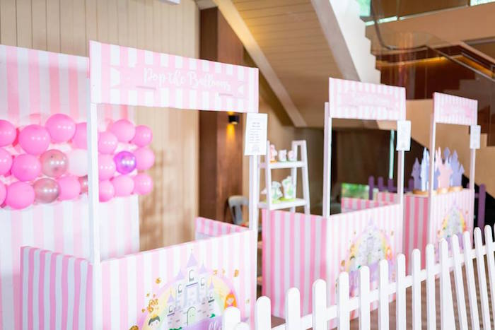 Pink + White Striped Booths from a Royal Princess Birthday Party on Kara's Party Ideas | KarasPartyIdeas.com (12)