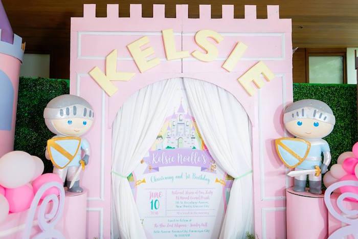 Castle Entrance Backdrop + Milestone Board from a Royal Princess Birthday Party on Kara's Party Ideas   KarasPartyIdeas.com (11)