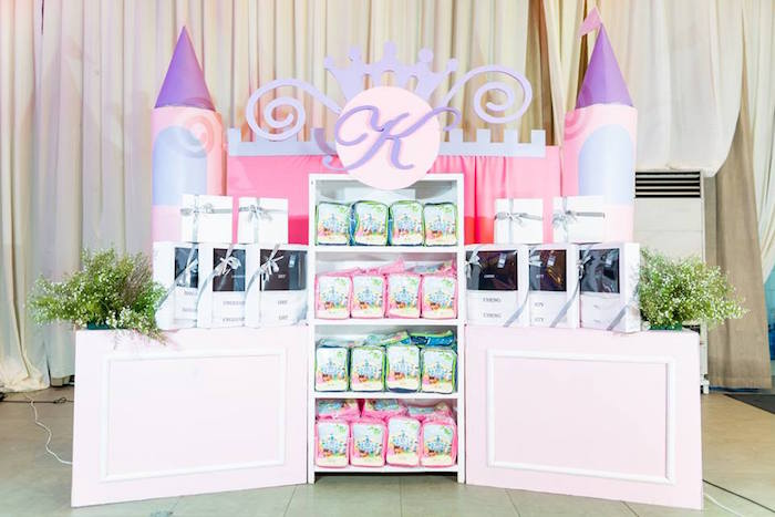 Castle Backdrop Favor Shelfs from a Royal Princess Birthday Party on Kara's Party Ideas | KarasPartyIdeas.com (8)
