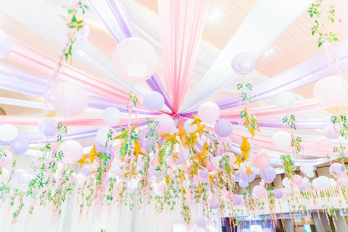 Star + Paper Lantern Ceiling from a Royal Princess Birthday Party on Kara's Party Ideas | KarasPartyIdeas.com (7)