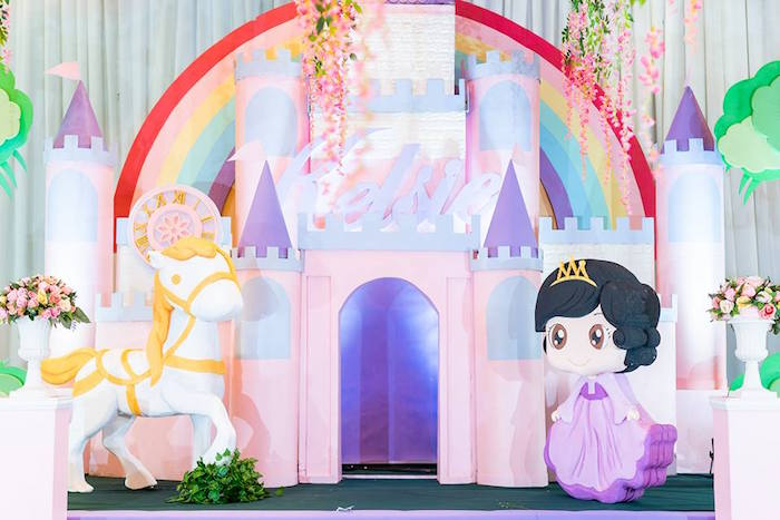 Royal Castle Backdrop from a Royal Princess Birthday Party on Kara's Party Ideas | KarasPartyIdeas.com (21)