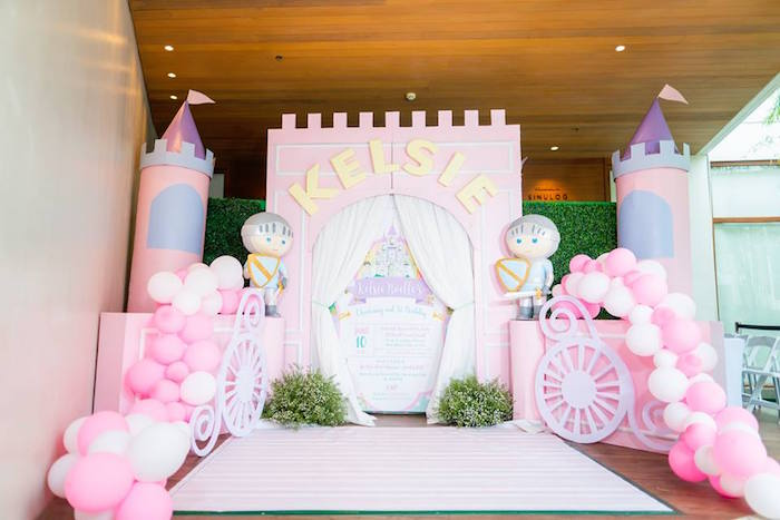 Castle Entrance Backdrop + Milestone Board from a Royal Princess Birthday Party on Kara's Party Ideas | KarasPartyIdeas.com (16)