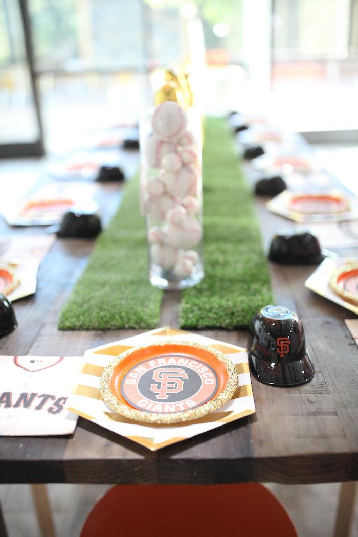 Guest Table from a San Francisco Giants Baseball Birthday Party on Kara's Party Ideas | KarasPartyIdeas.com (11)