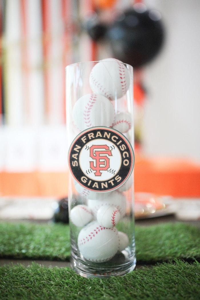 Baseball Table Centerpiece from a San Francisco Giants Baseball Birthday Party on Kara's Party Ideas | KarasPartyIdeas.com (10)